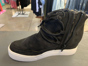Black suede wedge sneaker