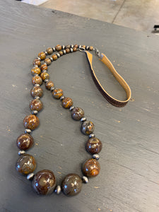 Large glass bead necklace with leather