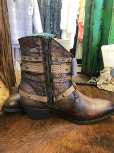 Corral tobacco ankle bootie
