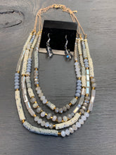 Natural stone layer necklace set
