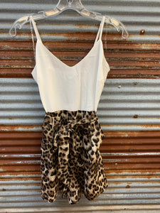 Leopard print romper with adjustable cami top