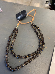 Leather and black glass bead necklace