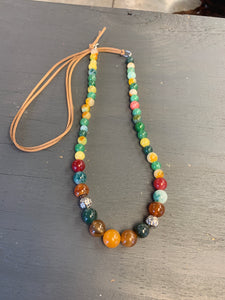 Multicolor bead and leather necklace