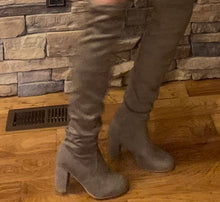Taupe thigh high heeled boots