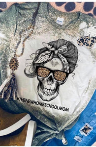 Skull New homeschool mom bleached tee