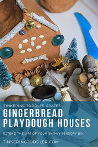 Gingerbread Playdough Houses Using Snowy Sensory Bin Materials