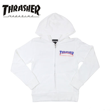 Thrasher Japan Kids BBQ Zip Up Hood White