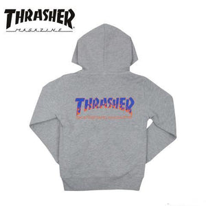 Thrasher Japan Kids BBQ Zip Up Hood Grey