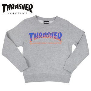 Thrasher Kids Japan Flame Crewneck Grey