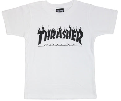 Thrasher Kids Flame Logo S/S Tee White