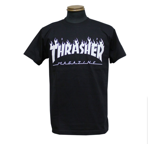 Thrasher Flame Logo S/S Tee Black/White