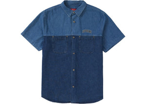 2-Tone Denim Short Sleeves Shirt (Blue)