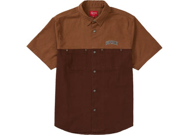 2-Tone Denim Short Sleeves Shirt (Brown)