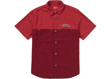 2-Tone Denim Short Sleeves Shirt (Red)