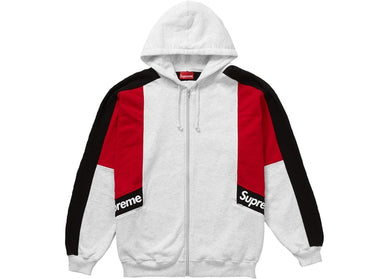 Supreme Color Blocked Zip Up Hooded Sweatshirt Grey