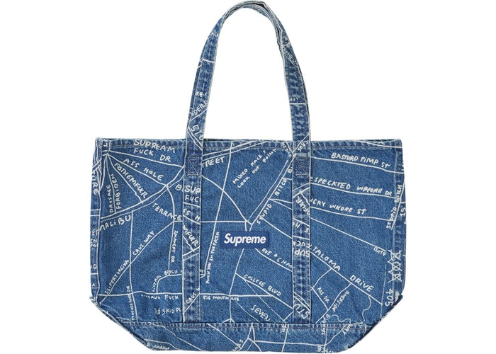 Gonz Map Denim Tote Washed (Blue)
