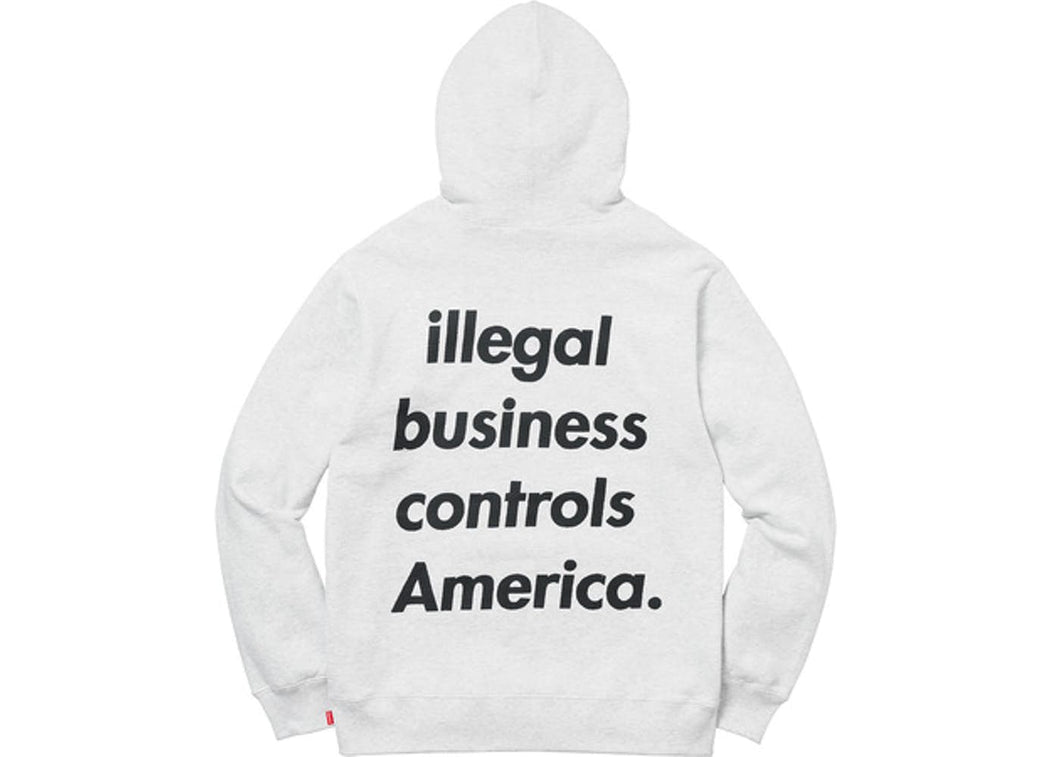 Supreme Illegal Business Hooded Sweatshirt Ash Grey