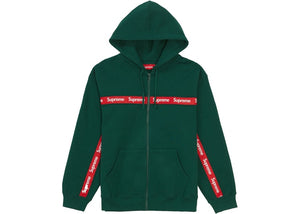 Supreme Text Stripe Zip Up Hooded Sweatshirt Dark Green