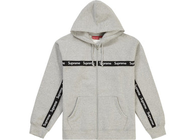 Supreme Text Stripe Zip Up Hooded Sweatshirt Grey