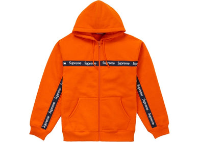 Supreme Text Stripe Zip Up Hooded Sweatshirt Dark Orange