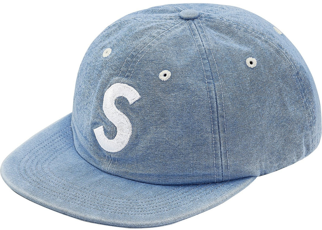 Supreme Washed Chambray S Logo 6-Panel Blue