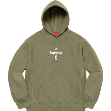 Supreme Cross Box Logo Hooded Sweater Olive