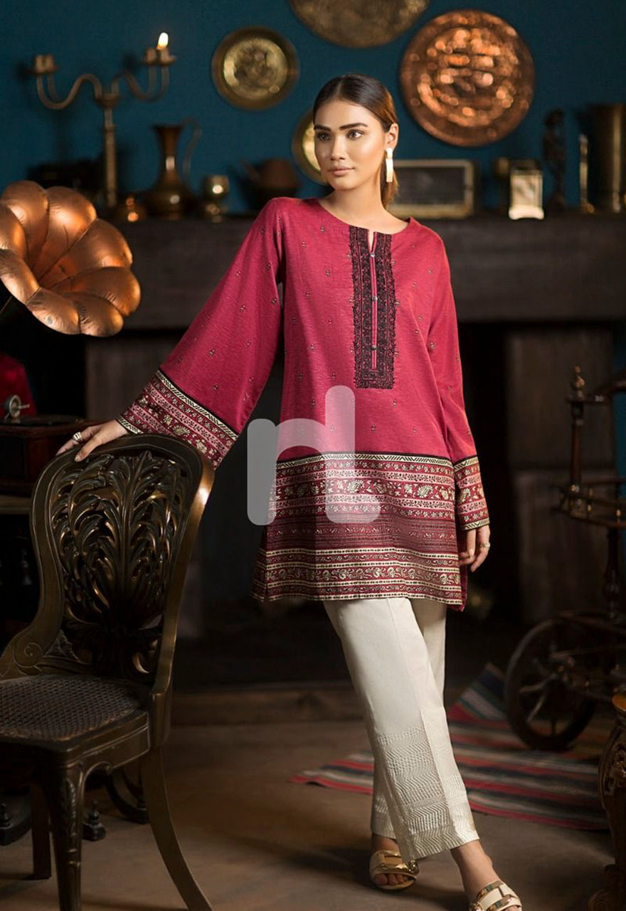 Maroon Digital Printed Embroidered Stitched Cotton Karandi Shirt-1PC - 30% OFF