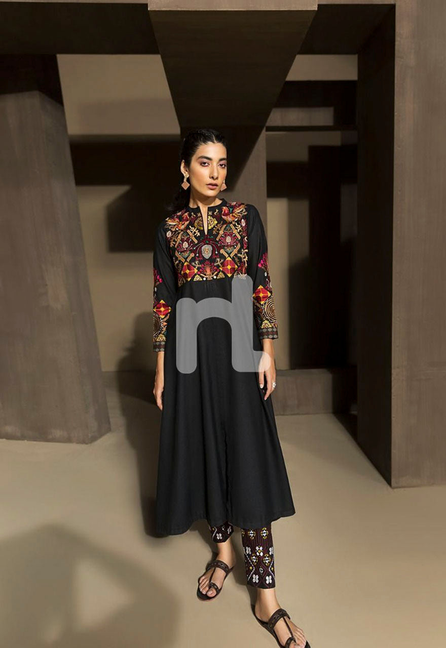 Fully Embroidered Long Flared Karandi Shirt- 1PC - 30% OFF