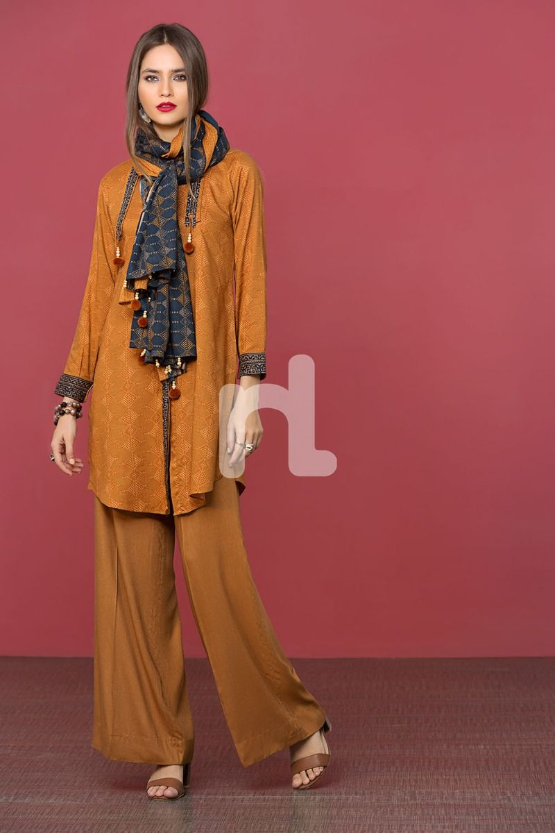 Linen Mustard Printed 3PC - Stitched Suit