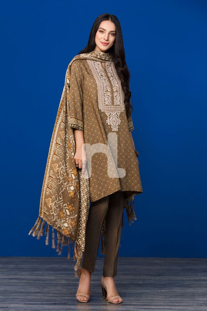 Linen Shawl Brown Embroidered 3PC - Stitched Suit