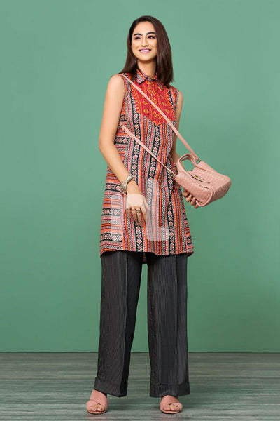 Cotton Modal Pink Printed 2PC - Stitched Suit