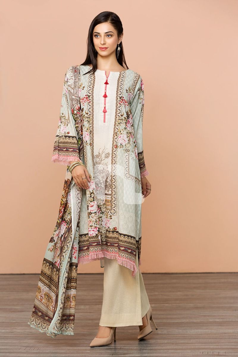 Cotton Net Blue Digital Printed 2PC - Stitched Suit