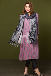 Linen Shawl Pink Printed 2PC - Stitched Suit