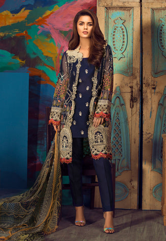 Stitched Suit - 4 PC Embroidered Organza