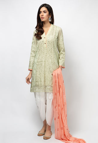 3PC Lawn Suit - Light Green