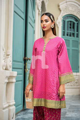 Pink Gold Printed Embroidered Stitched Shirt & Digital Printed Cambric Shalwar 2PC