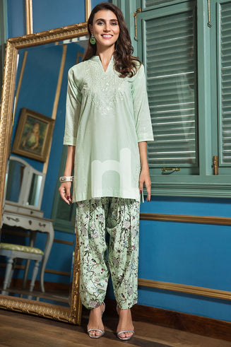 Green Dyed Embroidered Lawn Shirt & Printed Shalwar 2PC
