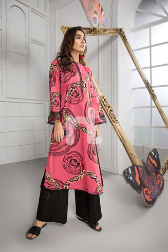 PS19-45 Red Printed Stitched Lawn Shirt - 1PC