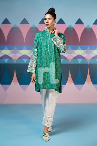 PS19-69 Green Textured Embroidered Stitched Lawn Shirt - 1PC