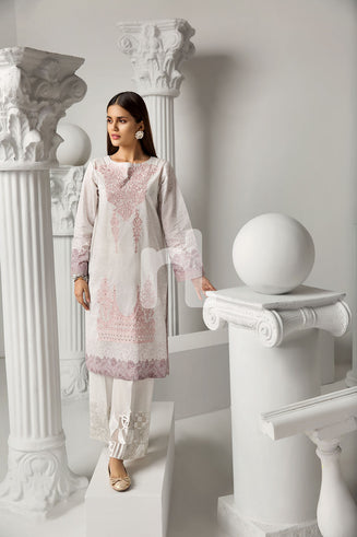 PS19-91 Pink Printed Embroidered Stitched Lawn Shirt - 1PC