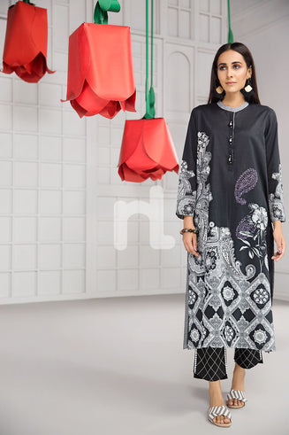 PS19-09 Black Printed Stitched Lawn Shirt - 1PC