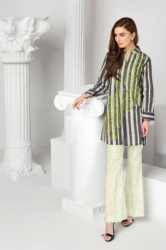 PS19-31 Grey Printed Embroidered Stitched Lawn Shirt & Printed Trouser - 2PC