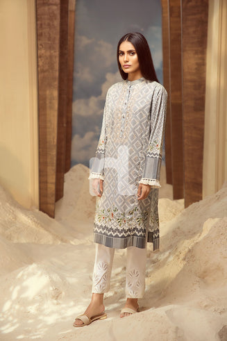 PS19-38 - Printed Embroidered Stitched Shirt (1PC)