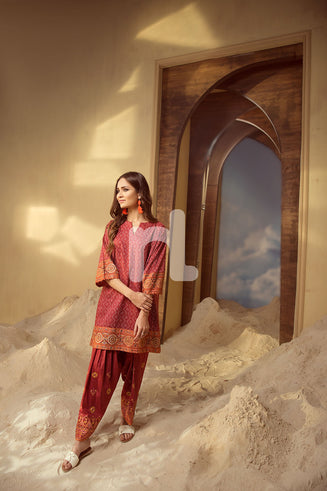 PS19-48 - RED Printed Embroidered Stitched Shirt & Shalwar (2PC)