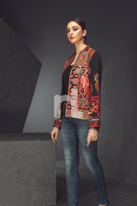 Black Embroidered Stitched Karandi Jacket - 1PC