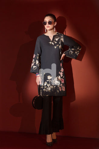 Black Printed Embroidered Stitched Khaddar Shirt – 1PC
