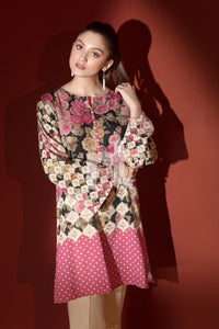 Pink Digital Printed Embroidered Stitched Cotton Karandi Shirt – 1PC