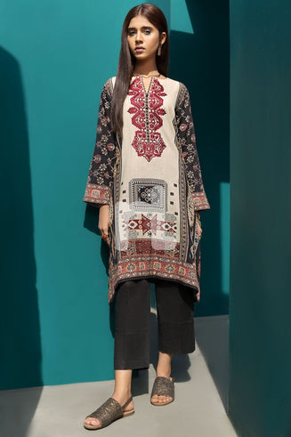 Black Printed Embroidered Stitched Cotton Karandi Shirt – 1PC