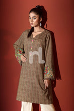 Brown Printed Embroidered Stitched Karandi Shirt – 1PC