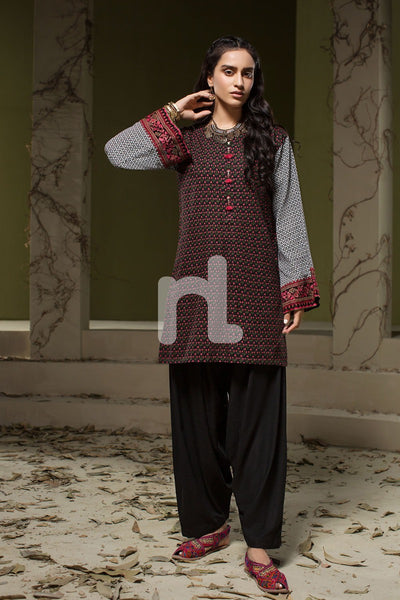 Black Printed Stitched Khaddar Shirt - 1PC